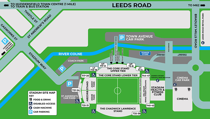 John Smith's Stadium - Site map